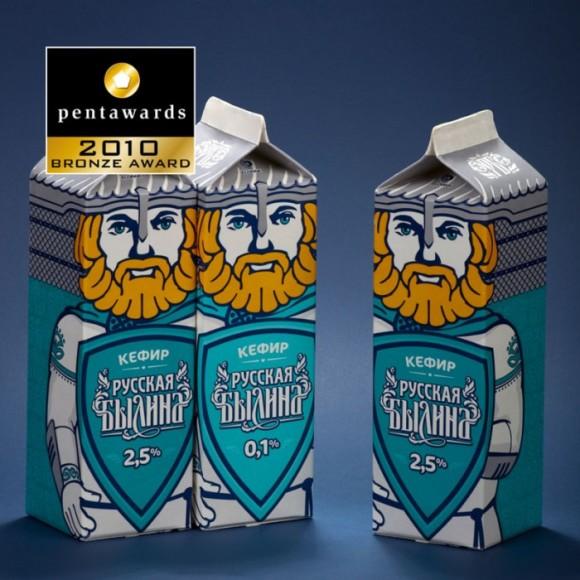 Упаковка кефира Русская былина – три богатыря