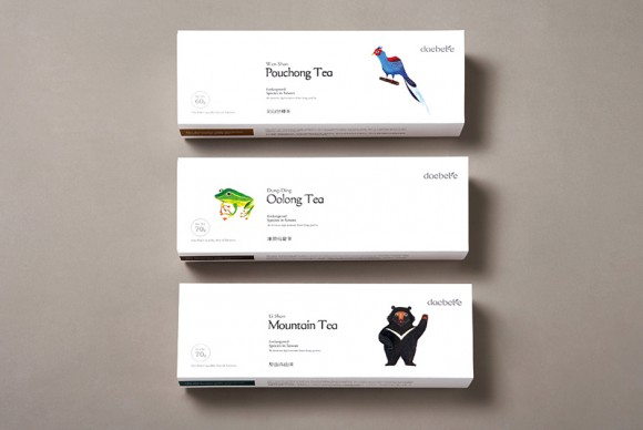 упаковка чая с изображениями зверей и птиц