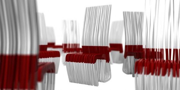 красно-белый стул, красное с белым, необычная мебель