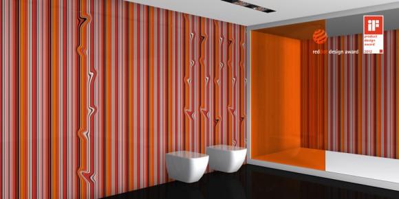 red dot design awards, оранжевая ванная, полосатая плитка, полосатый паттерн