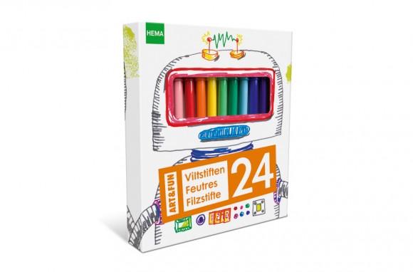 упаковка фломастеров с детскими рисунками