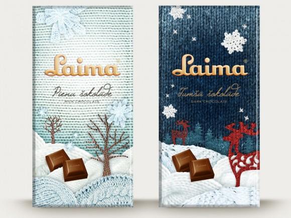 шоколад Laima – упаковка с вязаным рисунком
