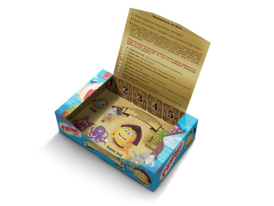 упаковка печенья Marine boy  с детской игрой