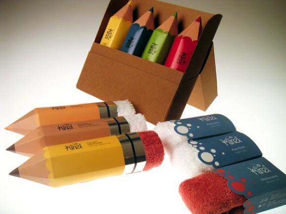 упаковка полотенец в виде карандашей