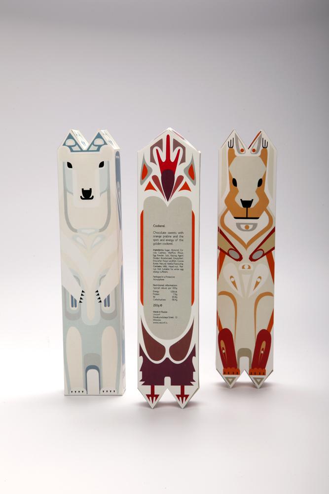 упаковка шоколадных конфет – коробка в виде зверей