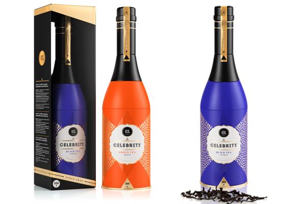 Подарочная упаковка чая – жестяная коробка в виде бутылки шампанского