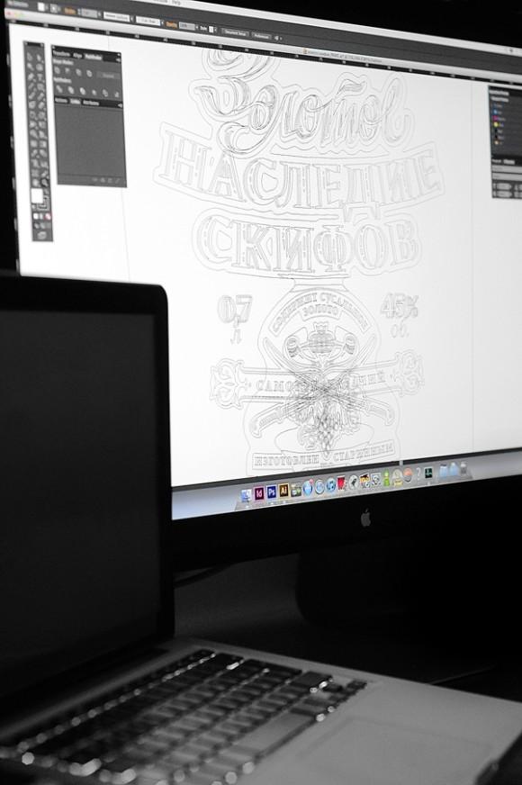 Этикетка самогона премиум – типографика и леттеринг