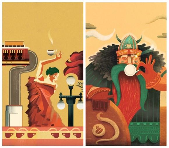 Иллюстрации для упаковки кофе