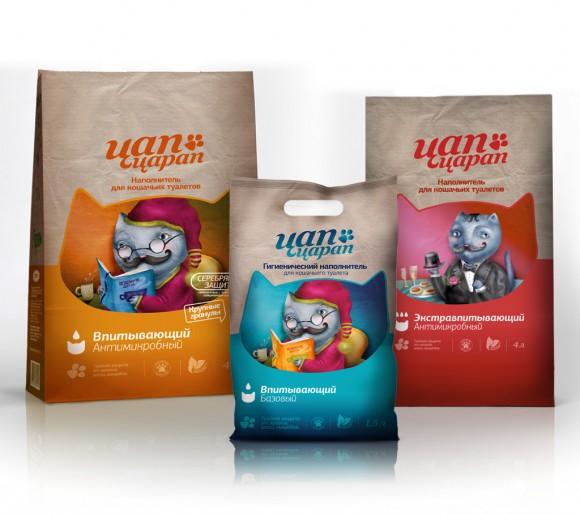 Дизайн упаковки наполнителей для кошачьего туалета