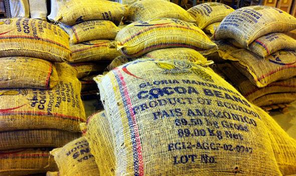 Упаковка какао бобов