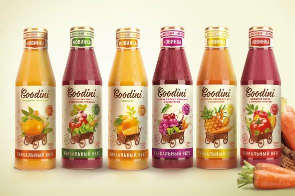 Дизайн упаковки соков Godini