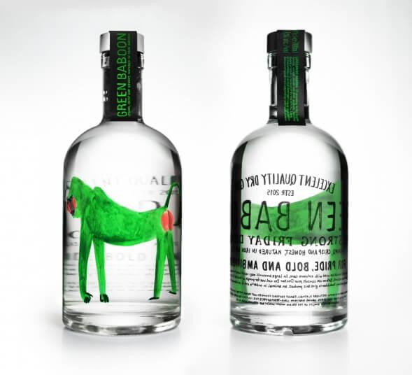 Концепт упаковки Джина Green Baboon