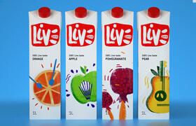Дизайн упаковки соков Live Juice