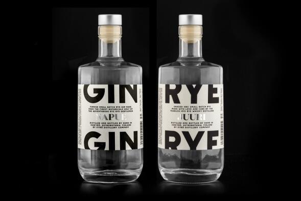 Шрифт в упаковке: джин Kyrö Distillery Company