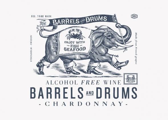 Дизайн упаковки безалкогольного вина Barrels and Drums