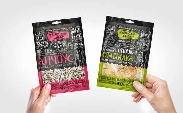 Дизайн упаковки закусок Клинские снеки