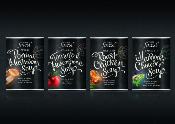 Дизайн упаковки консервированных супов Tesco Finest
