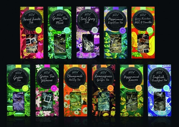 Дизайн упаковки чая Tesco Finest